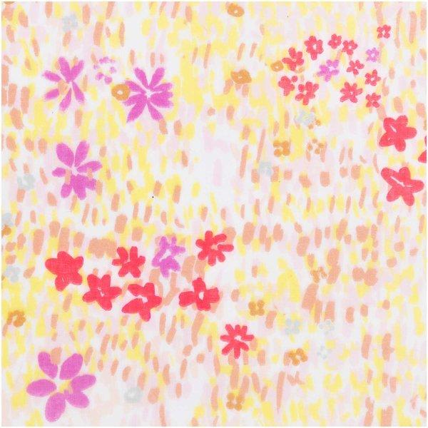 Rico Design Musselin-Druckstoff Crafted Nature Blumenwiese weiß-neon 140cm