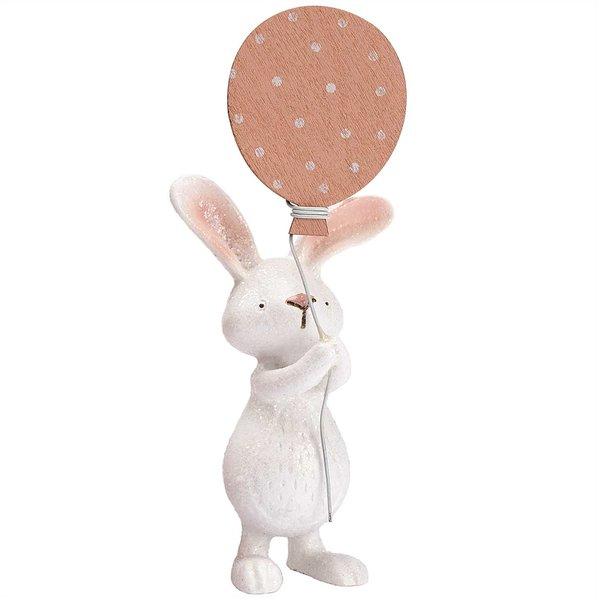Hase mit Luftballon weiß-rosa 14x5cm