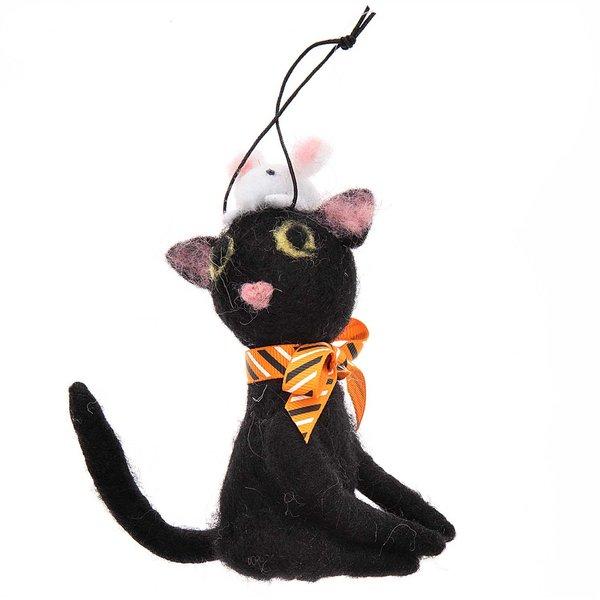 Ohhh! Lovely! Katze mit Maus handgefilzt schwarz 8x12cm