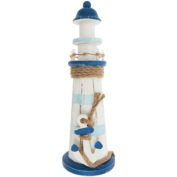 Holz-Leuchtturm mit Anker inkl. LED-Licht 30cm