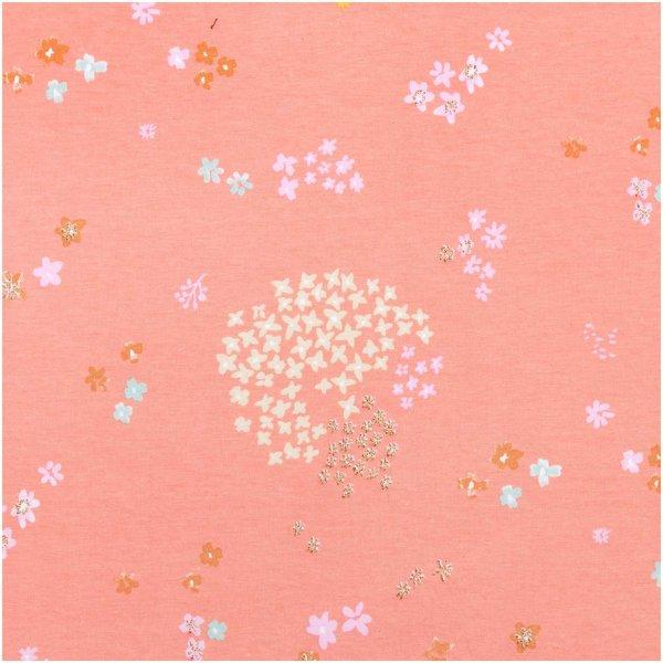 Rico Design Jerseystoff Crafted Nature Blumen rosa metallic 145cm