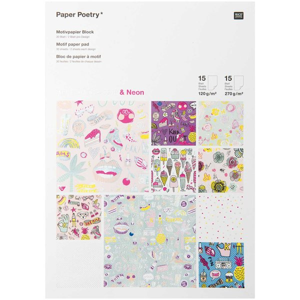 Paper Poetry Motivpapier Block for Girls neon 21x30cm 30 Blatt Hot Foil