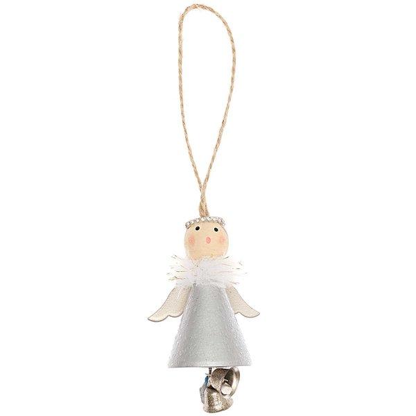 Ohhh! Lovely! Holzhänger Engel mit Glöckchen silber 8cm