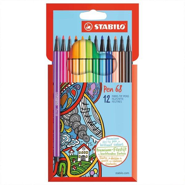 Stabilo Pen 68 im Kartonetui 12 Farben
