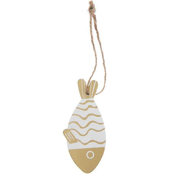 Ohhh! Lovely! Holzhänger Fisch weiß-gold 4,1x9cm
