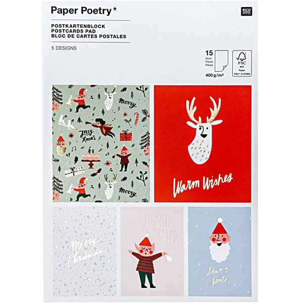 Paper Poetry  Postkartenblock Jolly Christmas Classic 12,5x17,6cm