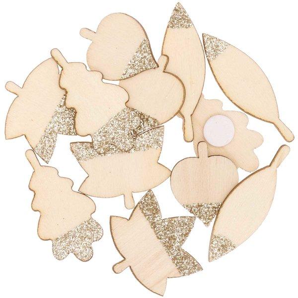 Ohhh! Lovely! Holzsticker Blätter Mix mit Glitter natur-gold 48 Stück