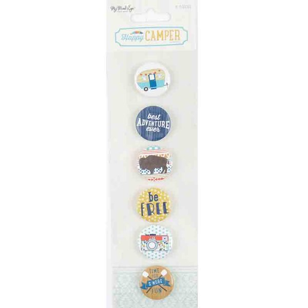 MyMindsEye Scrapbooking Flair Buttons Happy Camper 6 Stück