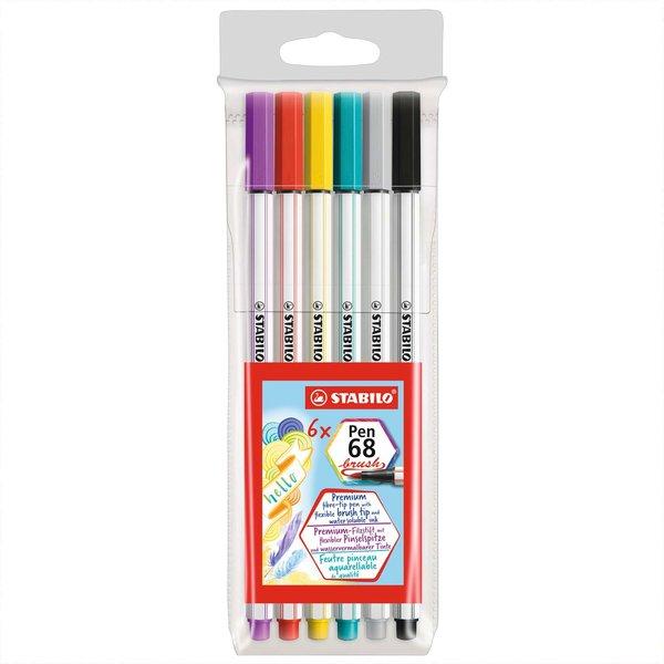Stabilo Pen 68 brush im Kunststoffetui 6 Farben