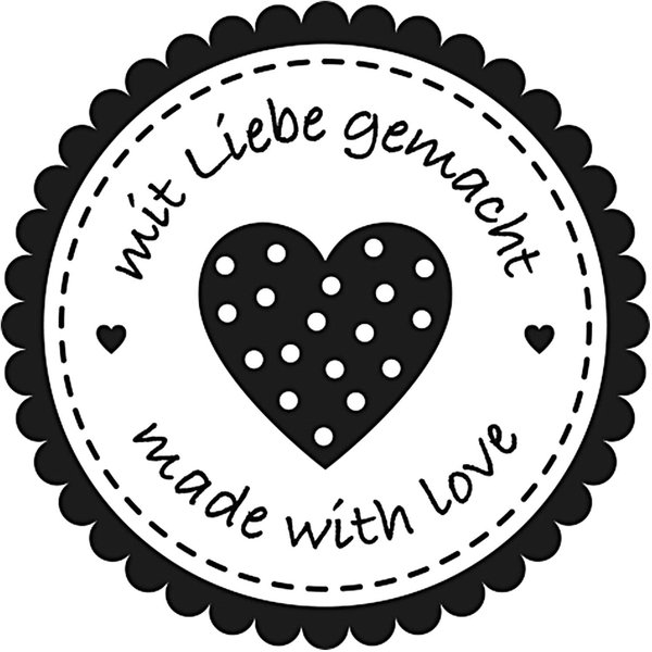 Rico Design Stempel rund Mit Liebe gemacht Herz 3,5cm