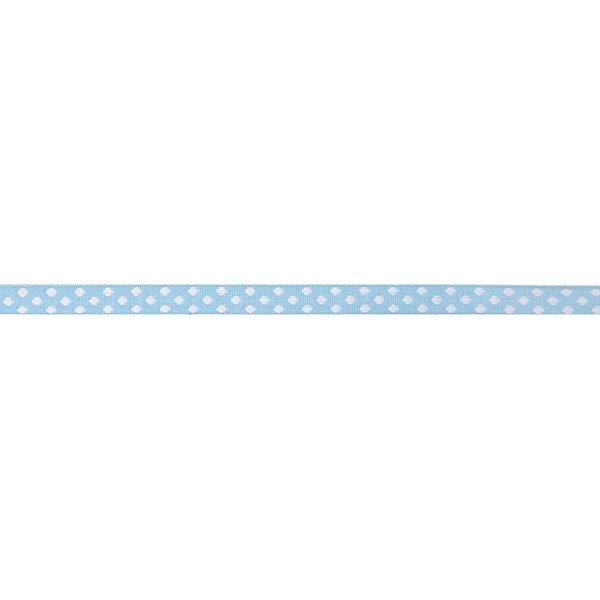 Rico Design Ribbons gewebte Pünktchen hellblau-weiß 2m