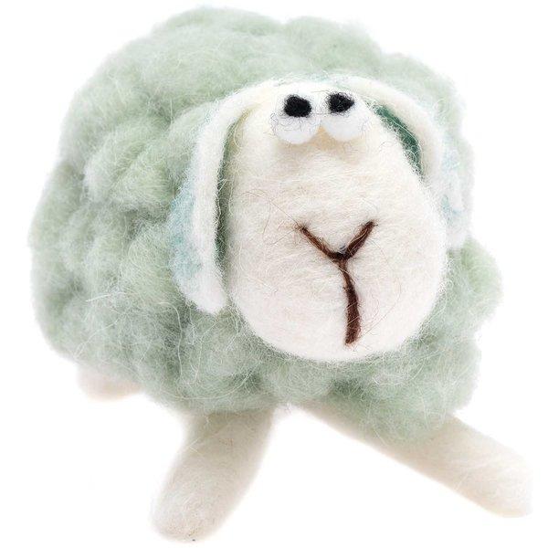 Schaf aus Filz grün 14cm