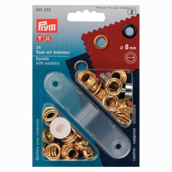 Prym Ösen mit Scheiben gold 8mm 24 Stück