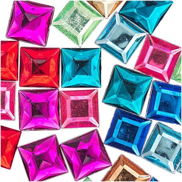 Rico Design Strass Quadrat mehrfarbig ca. 25 Stück