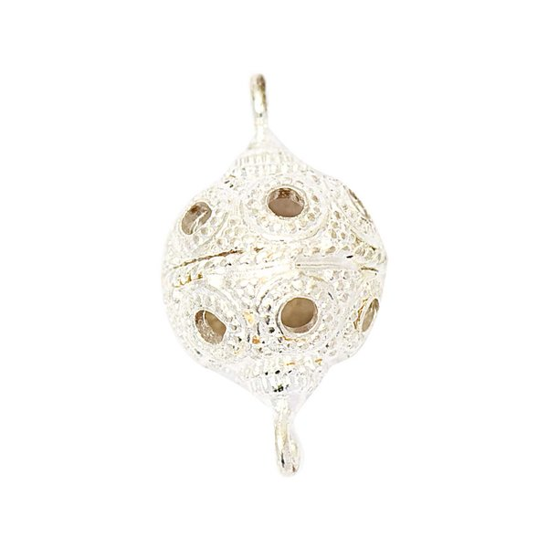 Jewellery Made by Me Kugel gemustert silber 21x12mm 3 Stück