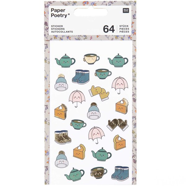 Paper Poetry Sticker Cosy Kawaii 4 Blatt