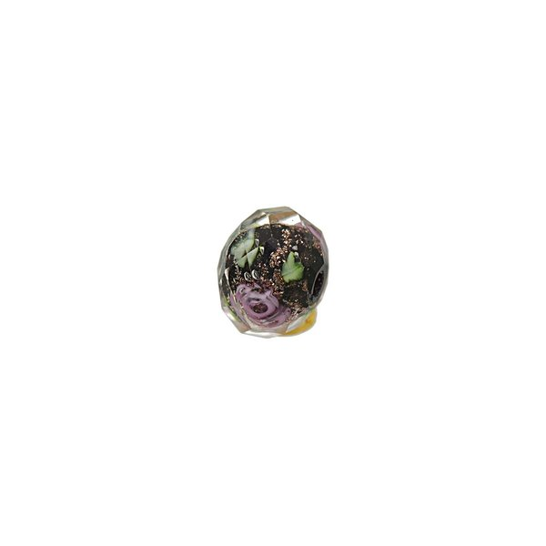 Jewellery Made by Me Perle Rosen schwarz-rosa 10x8mm Glas 6 Stück
