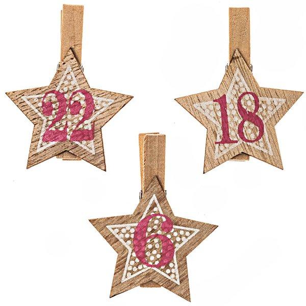 Adventskalenderzahlen am Clip 1-24 natur-rosa