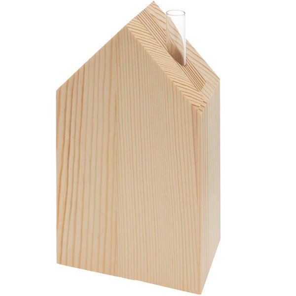 Made by Me Holz-Haus mit kleiner Glasvase 9x15x5cm