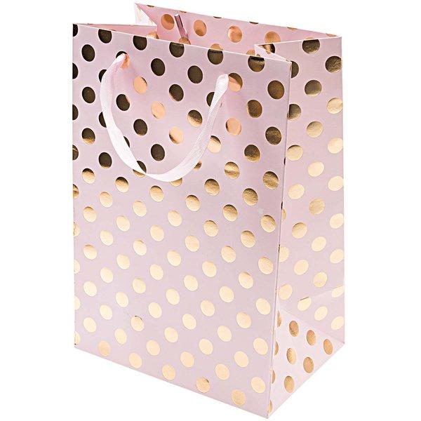 Rico Design Geschenktüte rosa Punkte gold 18x26x12cm