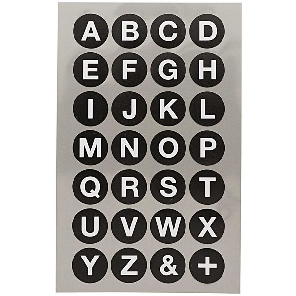Paper Poetry Office Sticker Punkte schwarz mit Alphabet 18mm 4 Bogen