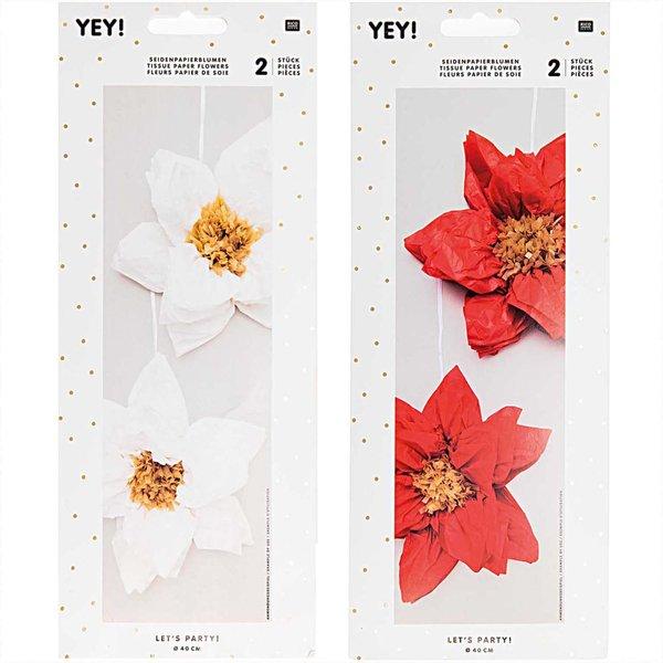 YEY! Let's Party Seidenpapierblumen Weihnachtsstern 40cm 2 Stück