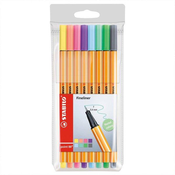 STABILO Point 88 Fineliner Pastell im Etui 8 Farben