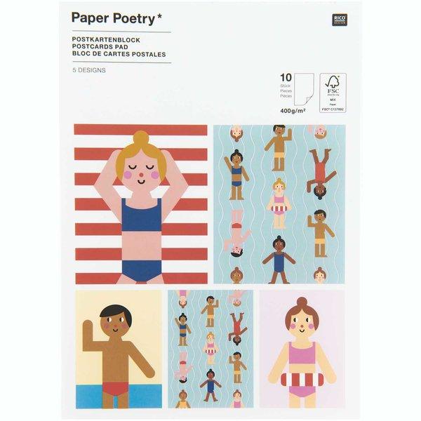 Paper Poetry Postkartenblock Strand 10 Stück