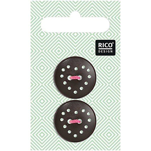 Rico Design Holzknopf dunkelbraun 2,3cm 2 Stück