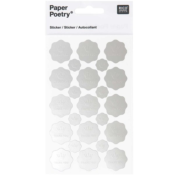 Paper Poetry Sticker Thank you-Krone silber