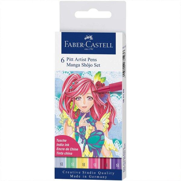 Faber Castell Pitt Artist Pen Manga Shojo Tuschestift-Set 6teilig
