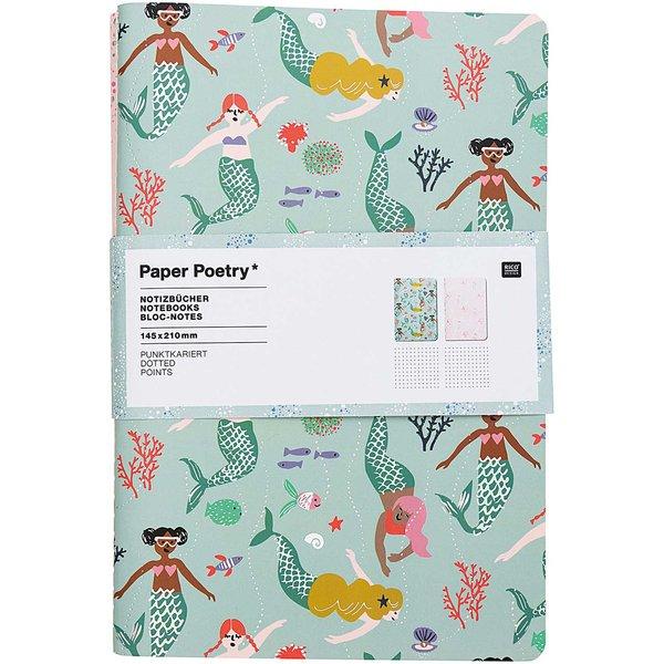 Paper Poetry Notizbücher Mermaid A5 punktkariert 40 Seiten 2 Stück