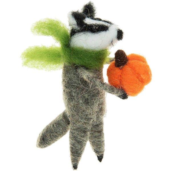Filz-Stinktier mit Kürbis mehrfarbig 9cm