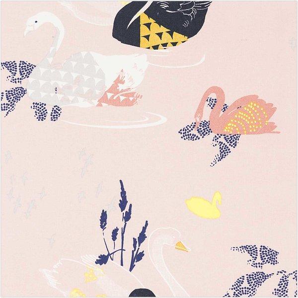 Rico Design Druckstoff Okina Hana Schwan rosa-schwarz 140cm beschichtet