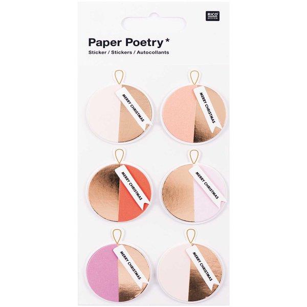 Paper Poetry 3D Sticker Kugeln rosa-gold Hot Foil