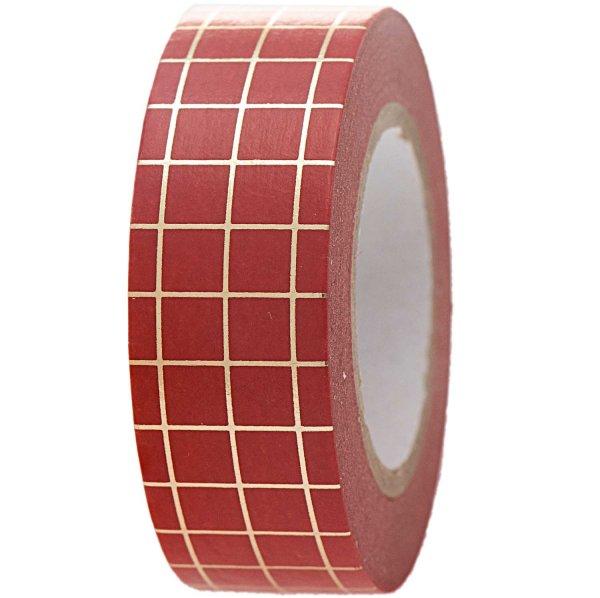 Paper Poetry Tape kariert rot-gold 1,5cm 10m