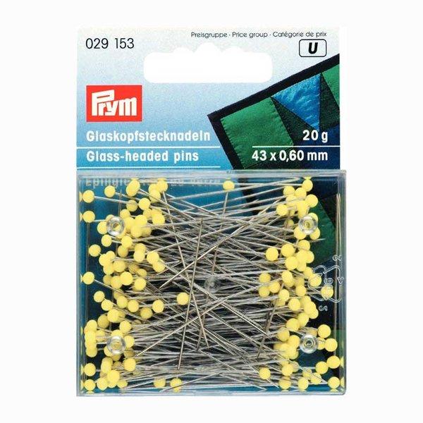 Prym Stecknadeln mit Glaskopf gelb 43mm 20g