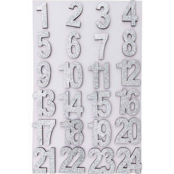 Adventskalender Zahlen silber Glitter