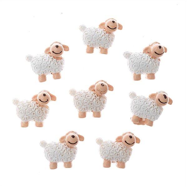 Streu Schafe aus Polyresin weiß 2,8x2,4cm 8 Stück