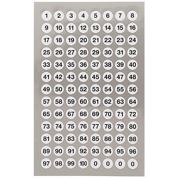 Paper Poetry Office Sticker Punkte weiß mit Zahlen 8,5mm 4 Bogen
