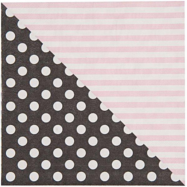 Rico Design Servietten rosa-schwarz 33x33cm 20 Stück