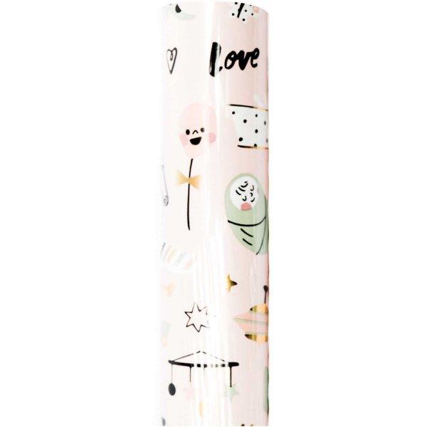 Paper Poetry Geschenkpapier Hello Baby Mädchen 70cm 2m Hot Foil