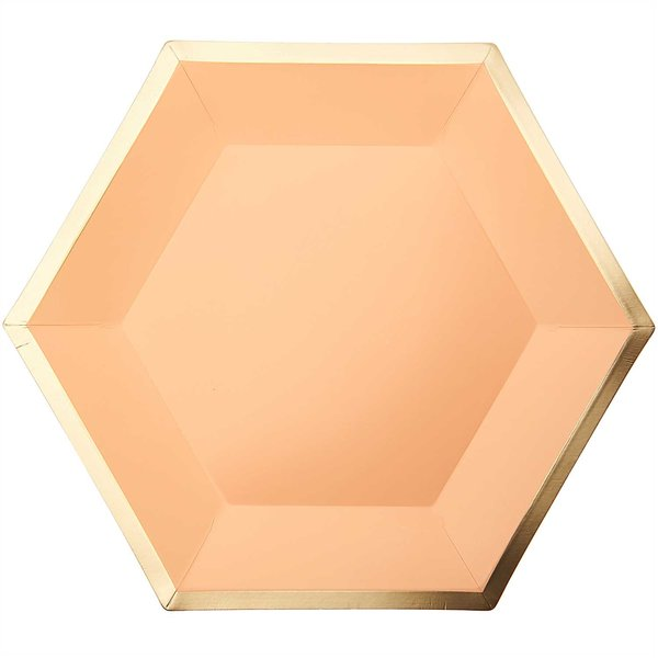 YEY! Let's Party Pappteller Sechseck apricot-gold 27x23,5cm 10 Stück