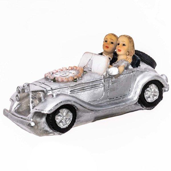Brautpaar Silberhochzeit im Auto 10,7cm