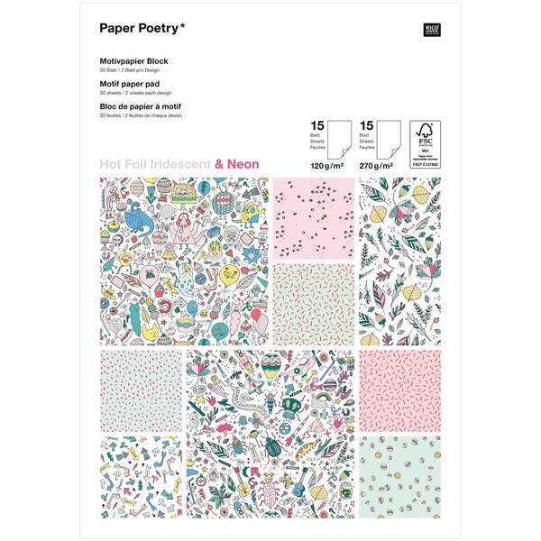 Paper Poetry Motivpapier Block Monster Party 21x29,5cm 30 Blatt