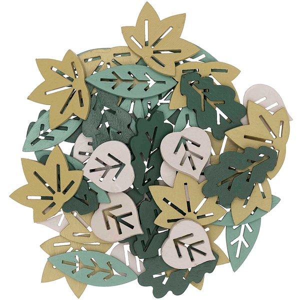 Ohhh! Lovely Holzstreu Blätter Mix grün 48 Stück