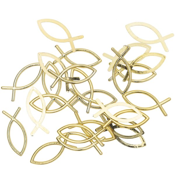 """Streu """"Fischsymbol"""" gold 3cm 24 Stück"""
