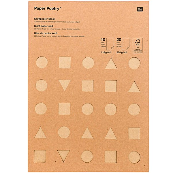 Paper Poetry Kraftpapier Block DIN A4 30 Blatt