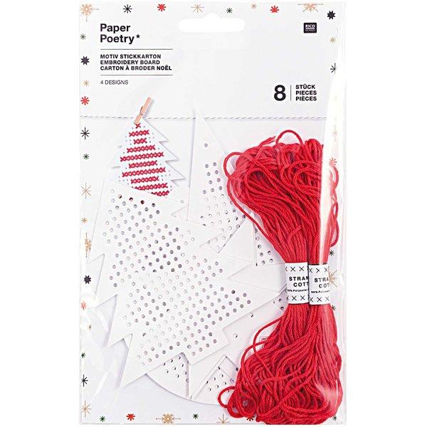 Paper Poetry Motivstickkarton X-MAS weiß-rot 8 Stück mit Garn