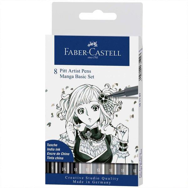 Faber Castell Pitt Artist Pen Manga Basic Tuschestift-Set 8teilig